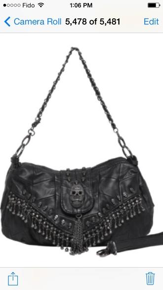 bag black faux leather skull studs fringes mg collection parkin
