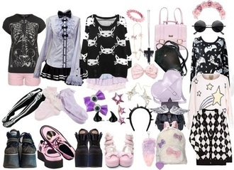 skirt blouse gloves hat jeans jewels shirt pastel goth hair accessory bag shoes leggings shorts
