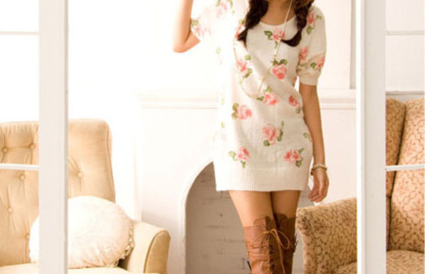sweater fllower floral dress shoes