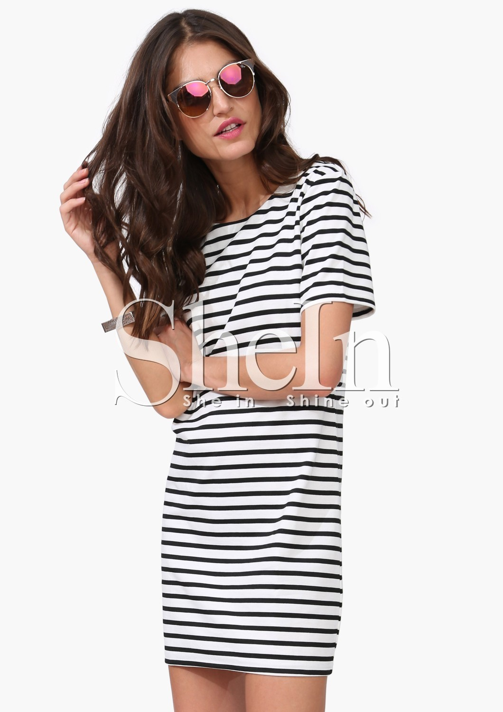 d5c2442897 Black White Striped Short Sleeve Straight Dress -SheIn(Sheinside)