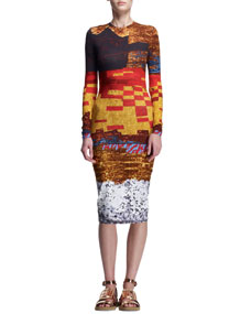 Mosaic-Print Sheath Dress