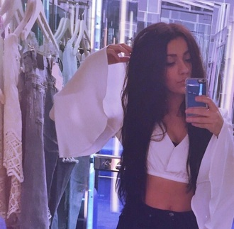 top crop tops long sleeve crop top flare sleeves wide sleeve crop top bralette white crop tops