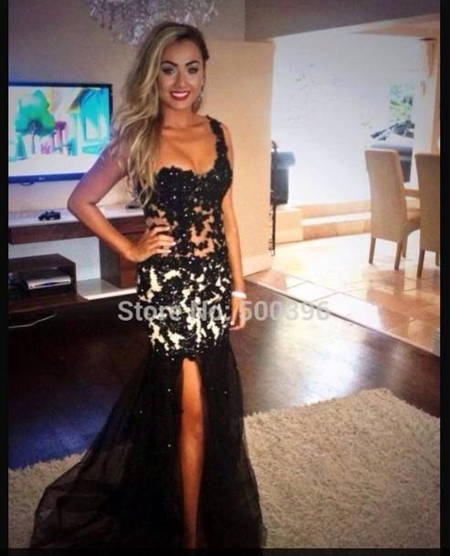 dress black and white dress slit mermaid
