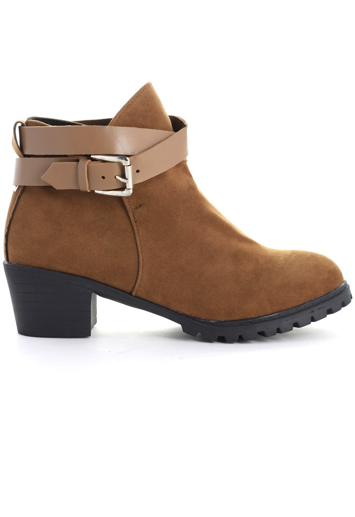 Strapped Faux Suede Ankle Boots in Camel - Retro, Indie and Unique Fashion