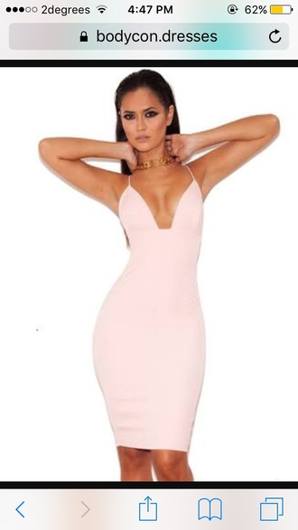 dress pink baby pink dress bodycon bodycon dress tight cut-out deep cut sexy party party dress long midi skirt baby pink deep v dress