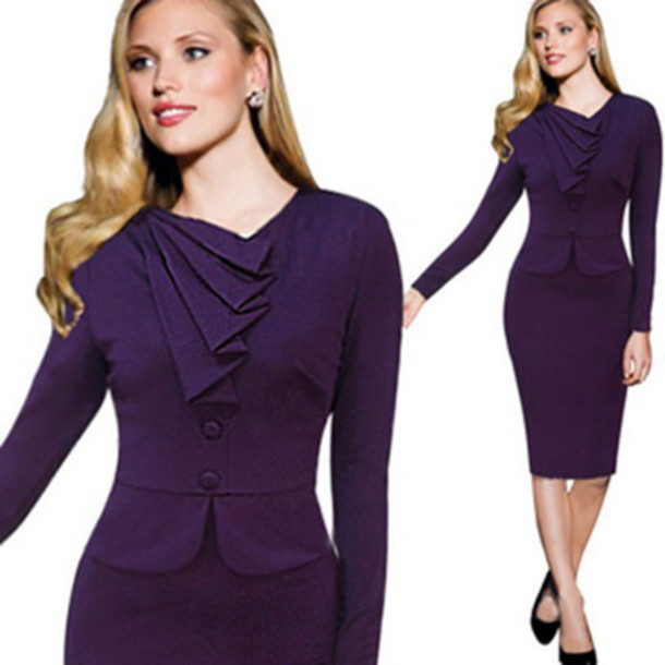 dress charming faux  twinset solid colr pencil dress long sleeves women dress
