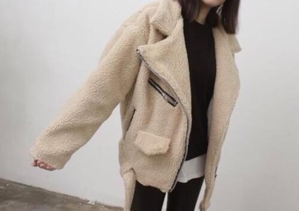 coat biker jacket lamb wool oversized shearling cream fluffy jacket warm fashion