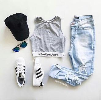 blouse calvin klein adidas sunglasses jeans top crop tops cropped calvin klein calvin klein jeans grey