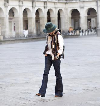 jacket tumblr multicolor colorful fur vest hat felt hat jeans denim blue jeans flare jeans sweater white sweater fall outfits printed fur vest