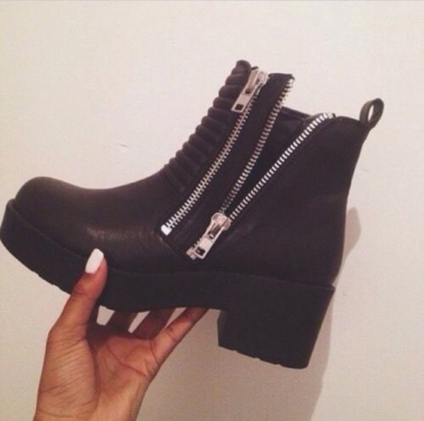 shoes boots zip chunky boots