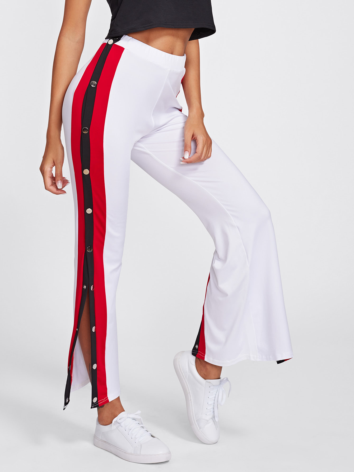 5715dfd12e Side Striped Button Embellished Split Pants -SheIn(Sheinside)