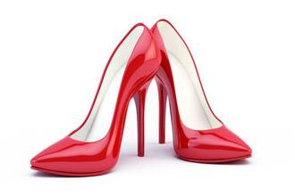 shoes red high heels high heels heels red shinny heels patent shoes pointed toe pumps