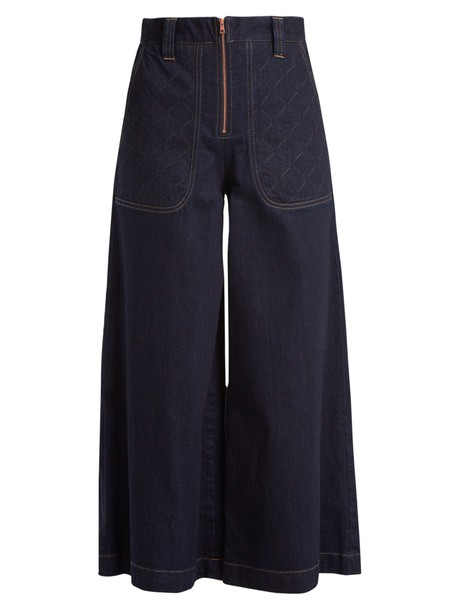 See by Chloe culottes denim culottes denim high quilted cotton pants