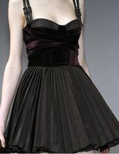 dress,goth hipster,goth,gothic dress,gothic grunge,grunge,black,black dress,velvet,fit-and-flare,flare dress,pleated skirt