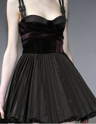 dress goth hipster goth gothic dress gothic grunge grunge black black dress velvet fit-and-flare flare dress pleated skirt