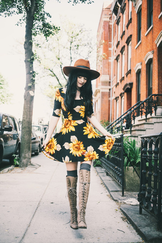 jag lever blogger socks dress hat lace-up shoes sunflower thigh high boots