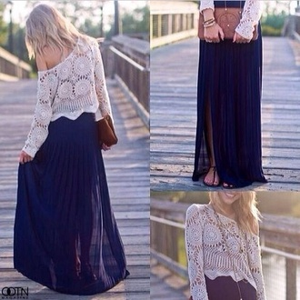 top women girly cool skirt maxi skirt blue skirt blue chiffon maxi white white crop tops crop tops off-white cute  outfits outfit