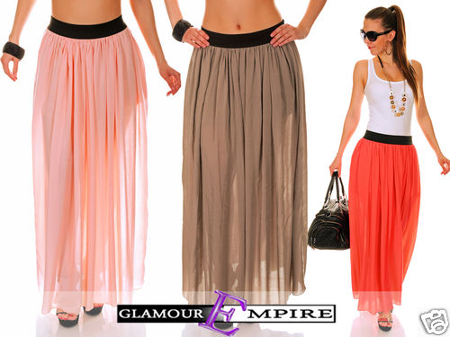 Cute Holiday Pull On Maxi Skirt Summer Trendy Colours 1/3 Lined UK 8-14 773 | Amazing Shoes UK