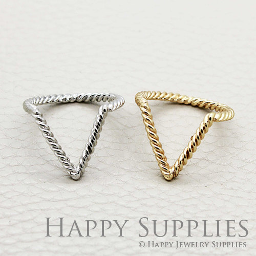 5pcs Silver / Golden Brass Slim V Twisted Rings / door happysupplies
