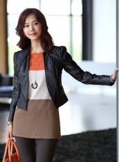 Korean Style Short PU Leather Jacket Coat Black _Wholesale Clothes, Cheap Korean Clothes Wholesale and Drop Ship from China