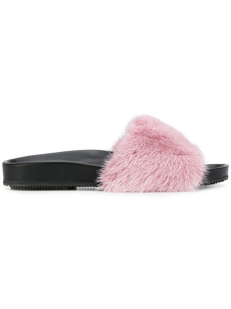fur women pool leather purple pink shoes