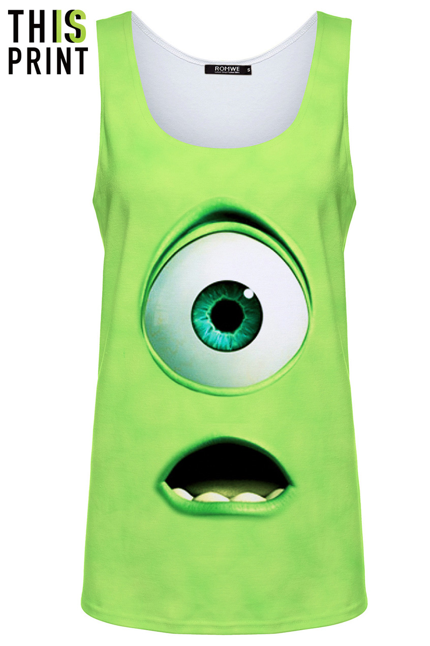 This is print green monster print vest, the latest street fashion