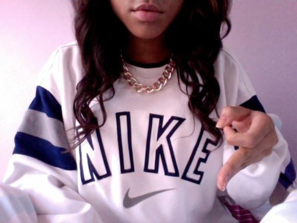 sweater nike nike sweater oversized sweater white sweater vintge white blue fashion women black