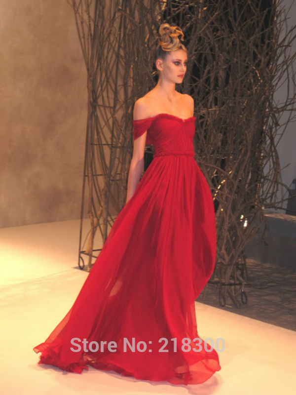 Aliexpress.com : Buy Off the Shoulder Red Chiffon Prom Dresses Long ...