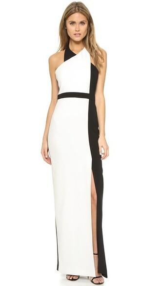 gown colorblock light black dress