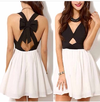 dress black bow white black and white dress criss cross back key hole cut out