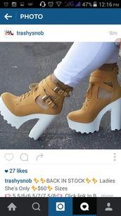 shoes,lug sole heels,camel booties