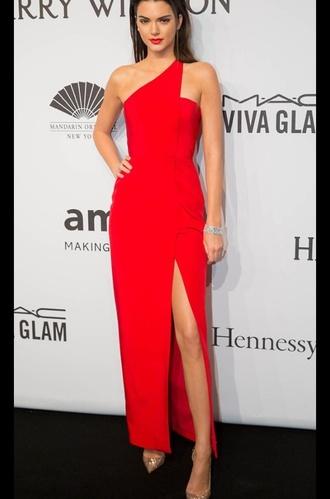 dress red dress prom dress slit dress kendall jenner red prom dress