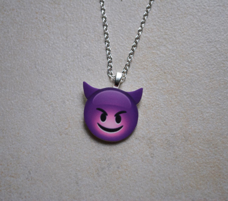Purple devil emoji necklace