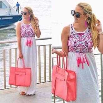 dress summer summer dress summer outfits boho boho dress casual peach white dress maxi dress print tribal pattern pink casual dress beach zaful