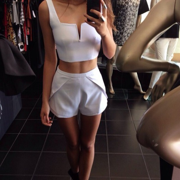 shorts High waisted shorts white crop tops style fashion top pants