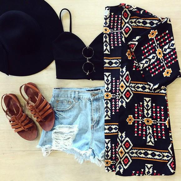 sunglasses jeans cool kimono top summer top mura boutique australian brand flip-flops
