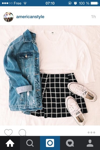 skirt black and white black and white skirt plaid skirt black leather skirt high waisted skirt brandy melville american apparel