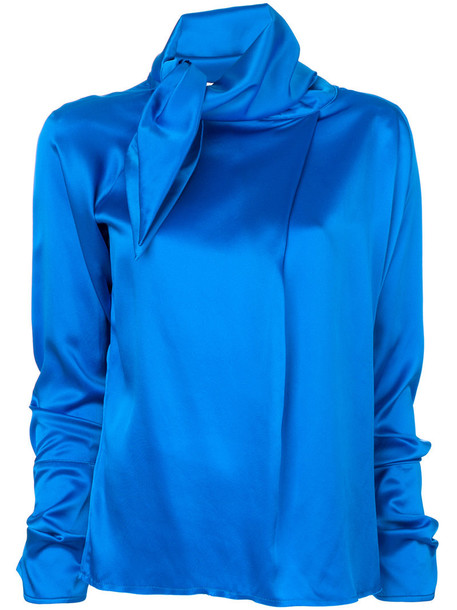 MARQUES'ALMEIDA blouse women blue silk satin top