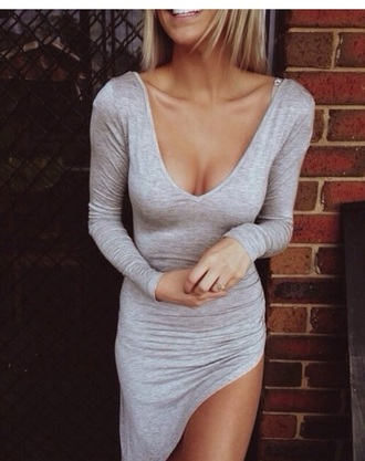 bodycon dress dress grey dress longsleeve