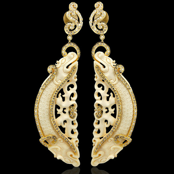 designer fashion jewels earrings diamonds jewelry set ivory gold jewelry dangle dangle earrings