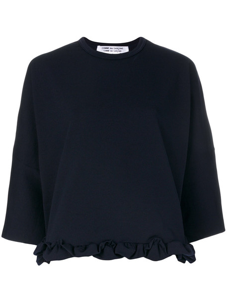 sweatshirt ruffle women blue sweater