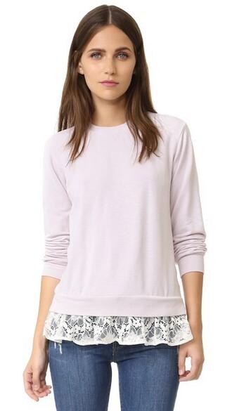 sweatshirt light pink light lace pink sweater