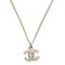 Chanel crystal cc timeless necklace silver