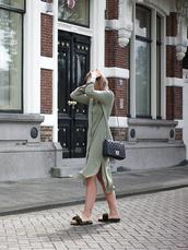 dress,tumblr,green dress,asymmetrical,asymmetric shirt,shirt dress,midi dress,bag,black bag,slide shoes,velvet,velvet shoes,shoes,mules