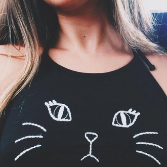 tank top blank cats chic cute black and white
