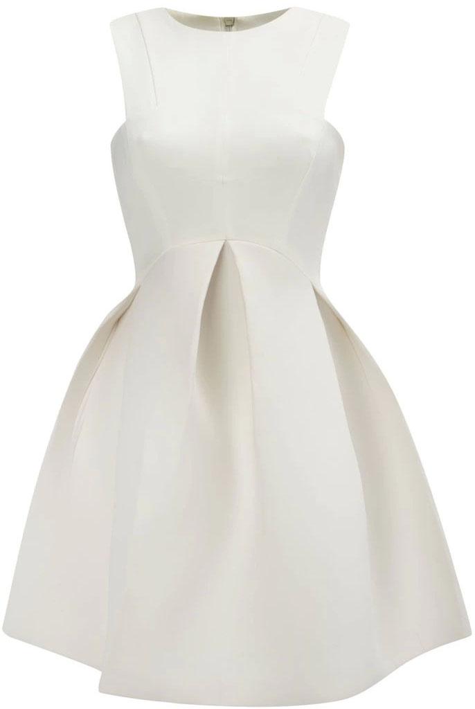 Vestido plisado cuello redondo sin manga-blanco