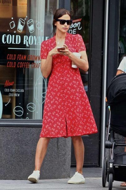 dress midi dress sneakers red dress red irina shayk spring outfits spring dress model off-duty streetstyle
