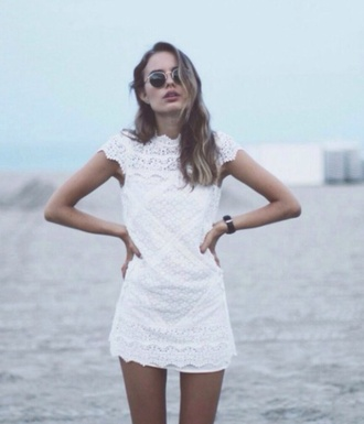 dress mini short shoulder cuff crochet