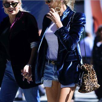 coat tumblr blazer blue blazer velvet velvet blazer t-shirt white t-shirt logo belt belt denim shorts distressed denim shorts blue shorts bag leopard print animal print bag animal print earrings streetstyle gucci belt