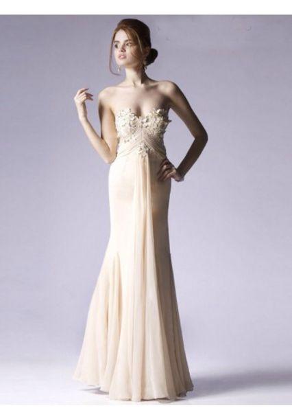 dress, cream dress, prom dress, mermaid prom dress, long prom dress ...